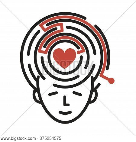 Line Icon Whith Human Face And Maze Whith Right Path For Heart. Icon Suitable For Logo Or Banner.