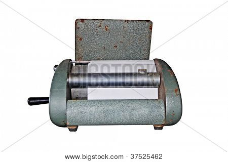 Antique mimeograph - A duplicate machine isolated on white background.