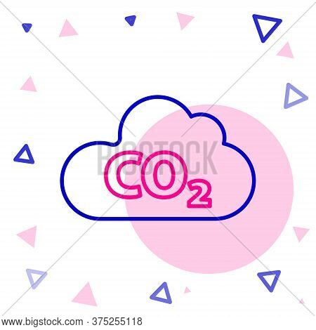 Line Co2 Emissions In Cloud Icon Isolated On White Background. Carbon Dioxide Formula, Smog Pollutio