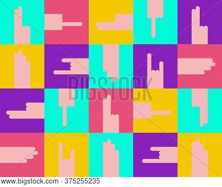 Seamless Hands Gestures Pattern. Fuck, Rock-n-roll, Peace, Palm. Provocative Colorful Square Banner.