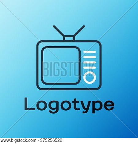 Line Retro Tv Icon Isolated On Blue Background. Television Sign. Colorful Outline Concept. Vector Il