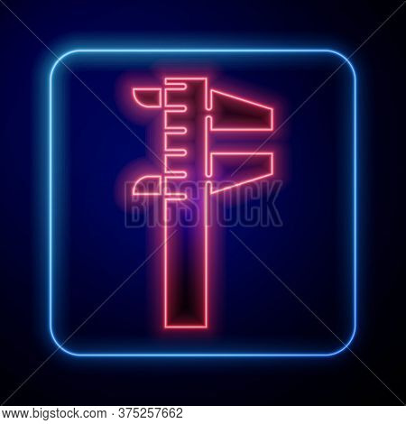 Glowing Neon Calliper Or Caliper And Scale Icon Isolated On Blue Background. Precision Measuring Too