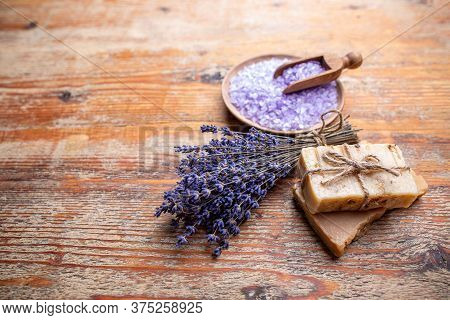 Hygiene Items For The Bath And Spa On Rustic Wooden Background