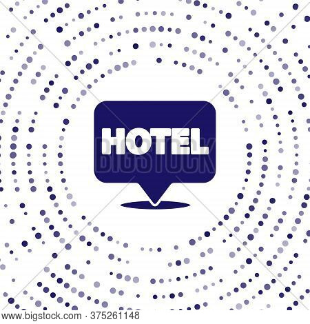 Blue Location Hotel Icon Isolated On White Background. Concept Symbol For Hotel, Hostel, Travel, Hou