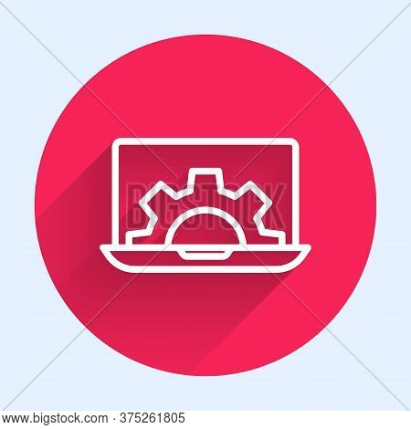 White Line Laptop And Gear Icon Isolated With Long Shadow. Adjusting App, Setting Options, Maintenan