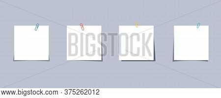 Sticker Note With Clip. Sticker With Paper Clip. Memo Sticky Note With Paper Clip. Paper Clip With N