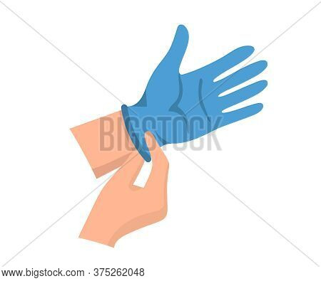 Hands In Medical Gloves. Hands Put On Rubber Gloves To Prevent Infection And Bacteria Getting. Latex