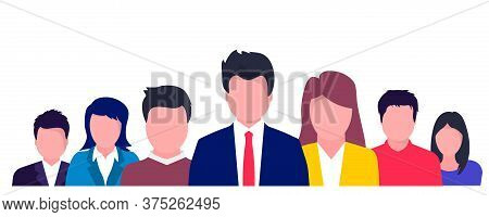 Business People With Speech Bubbles Talking. Communication Concept, Relating To Feedback, Reviews An