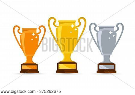 Gold, Silver And Bronze Winners Cup. Winners Trophy, Symbol Of Victory In A Sports Event. Set Of Dif