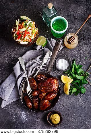 Honey Mustard Chicken & Potatoes One Pan...selective Focus