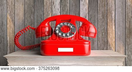 Red Vintage Retro Telephone On Wooden Table, Wood Wall Background. 3D Illustration