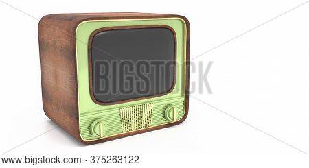 Tv Retro, Old Vintage Television Pastel Green Color With Blank Empty Screen Isolated Against White B