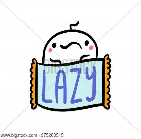 Lazy Hand Drawn Vector Illustration In Cartoon Comic Style Man Sad