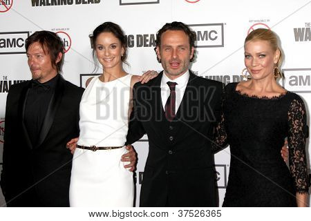 """LOS ANGELES - OCT 4:  Norman Reedus, Sarah Wayne Callies, Andrew Lincoln, Laurie Holden arrives at """"The Walking Dead"""" 3rd Season Screening at Universal Citywalk on October 4, 2012 in Los Angeles, CA"""