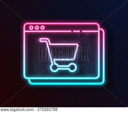 Glowing Neon Line Online Shopping On Screen Icon Isolated On Black Background. Concept E-commerce, E