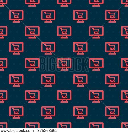 Red Line Shopping Cart On Screen Computer Icon Isolated Seamless Pattern On Black Background. Concep