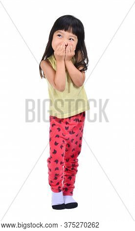 Little Asian Girl Gag Her Mount Isolated On White With Clipping Path