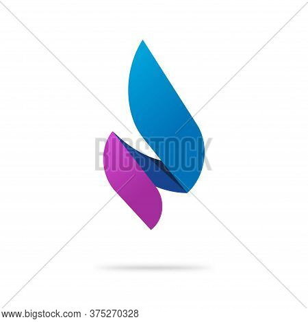 Flame Candle Logo As Abstract Spear Blue Violet Color Fire Energy Vector Logotype Template Design, C