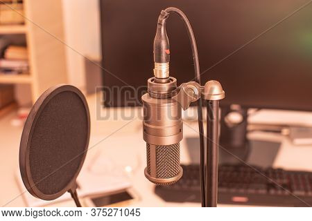 The Stylish Professional Microphone In A Radio Studio