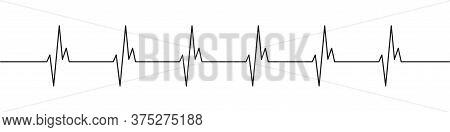 Heartbeat Black Line Icon. Heart Pulse, Rhythm Vector Icon.
