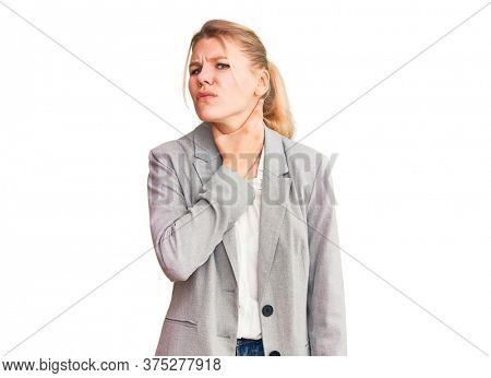 Young beautiful blonde woman wearing elegant jacket touching painful neck, sore throat for flu, clod and infection