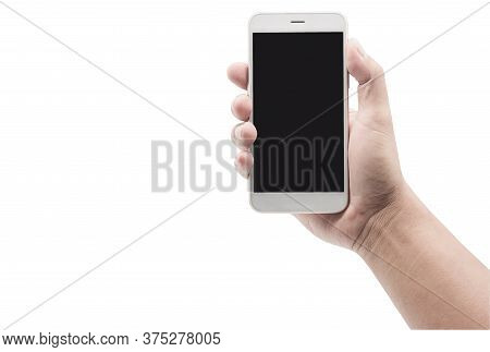Man Hand Holding White Cellphone With Black Screen Isolated On White Background With Clipping Path.