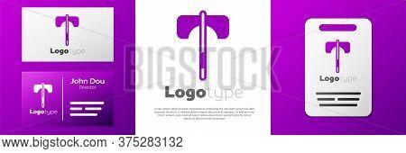 Logotype Medieval Axe Icon Isolated On White Background. Battle Axe, Executioner Axe. Medieval Weapo