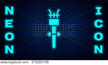 Glowing Neon Torch Flame Icon Isolated On Brick Wall Background. Symbol Fire Hot, Flame Power, Flami