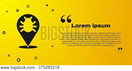 Black System Bug Concept Icon Isolated On Yellow Background. Code Bug Concept. Bug In The System. Bu