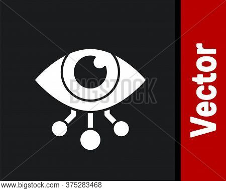 White Eye Scan Icon Isolated On Black Background. Scanning Eye. Security Check Symbol. Cyber Eye Sig