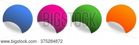 Curl Circle Color Sticker. Curled Realistic Flip Peel Tags. White Background.