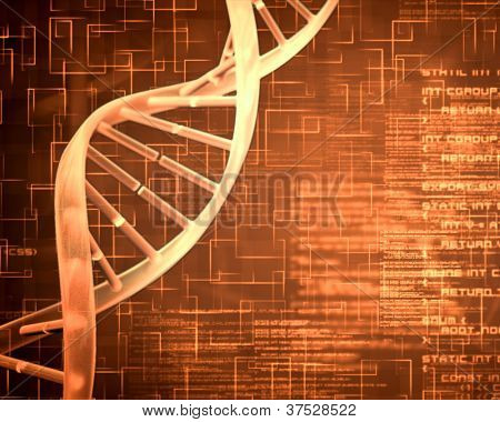 Orange background DNA Helix squares and text