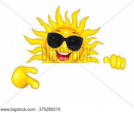 Cheerful Cartoon Sun In Sun Glasses. The Smiling Sun Shows A Direction With His Hand, Invites, Pays