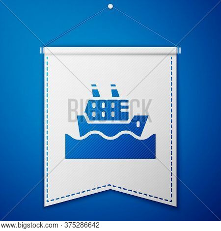 Blue Cruise Ship In Ocean Icon Isolated On Blue Background. Cruising The World. White Pennant Templa