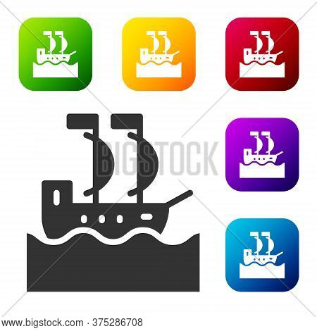 Black Sailboat Or Sailing Ship Icon Isolated On White Background. Sail Boat Marine Cruise Travel. Se