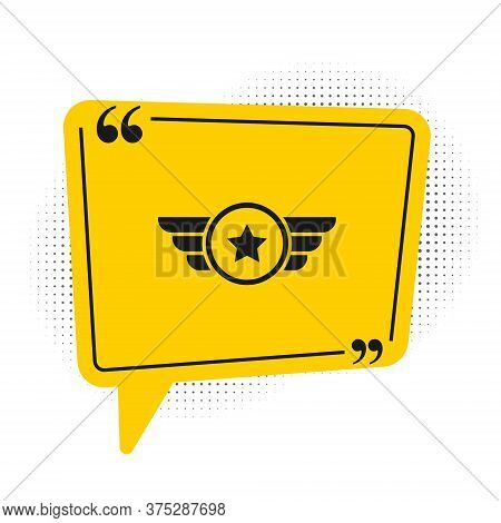 Black Star American Military Icon Isolated On White Background. Military Badges. Army Patches. Yello