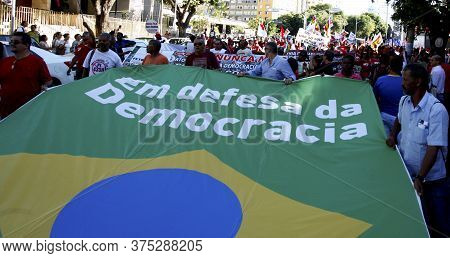 Salvador, Bahia, Brazil - Dec. 16, 2015: Members Of The Trade Union Centrals, Political Parties And