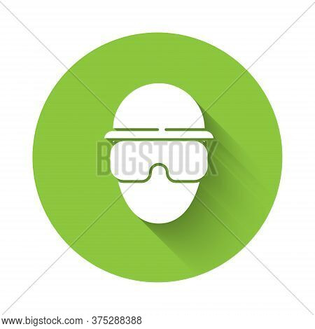 White Special Forces Soldier Icon Isolated With Long Shadow. Army And Police Symbol Of Defense. Gree