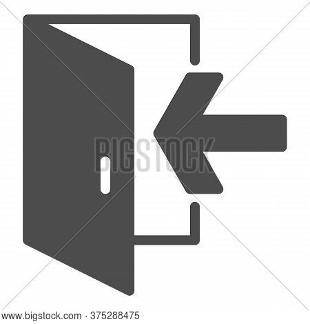 Emergency Exit Solid Icon, Navigation Concept Exit Sign On White Background, Exit Door Icon In Glyph