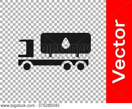 Black Tanker Truck Icon Isolated On Transparent Background. Petroleum Tanker, Petrol Truck, Cistern,