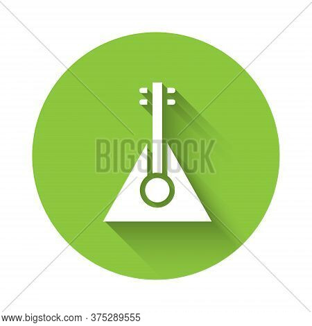 White Musical Instrument Balalaika Icon Isolated With Long Shadow. Green Circle Button. Vector