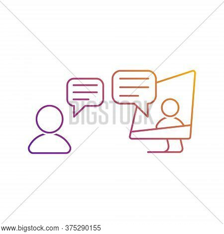 Video Call Icon. Online Chat Vector Icon In Bright Color Gradient. People Talking Via Internet. For