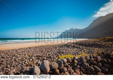 Caleta De Famara Beach Lanzarote Canary Islands, Spain.