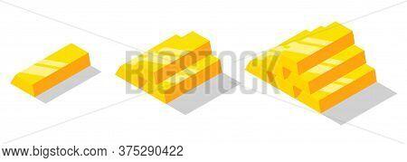 Isometric Golden Bars Set. Gold Bricks Or Ingot Isolated On White Background