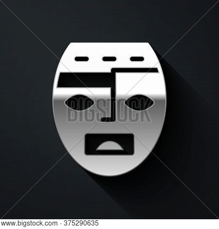 Silver Mexican Mayan Or Aztec Mask Icon Isolated On Black Background. Long Shadow Style. Vector