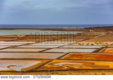 Salinas De Janubio, Old Salt Mining On Lanzarote, Canary Islands, Spain.