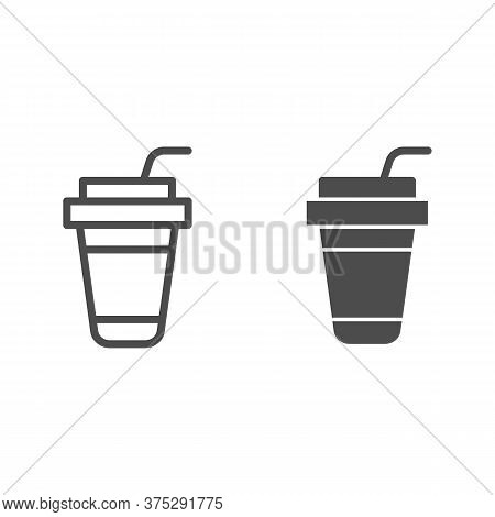 Coffee Cup Line And Solid Icon, Drinks Concept, Disposable Paper Cup For Hot Drinks Sign On White Ba
