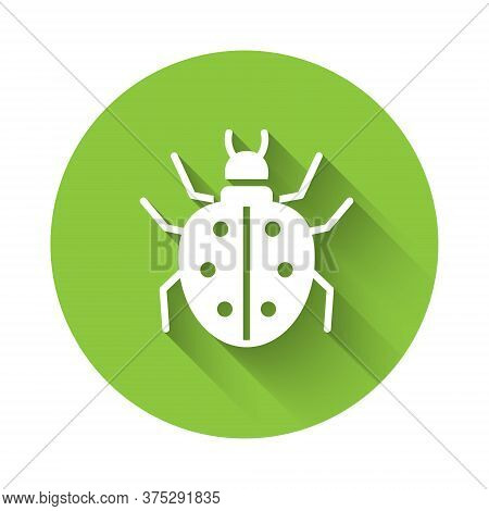 White Mite Icon Isolated With Long Shadow. Green Circle Button. Vector