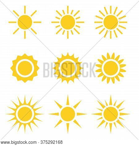 Set Of Vector Design Element Isolated On Background. Sun Heat Icon Collection. Flat Abstract Yellow