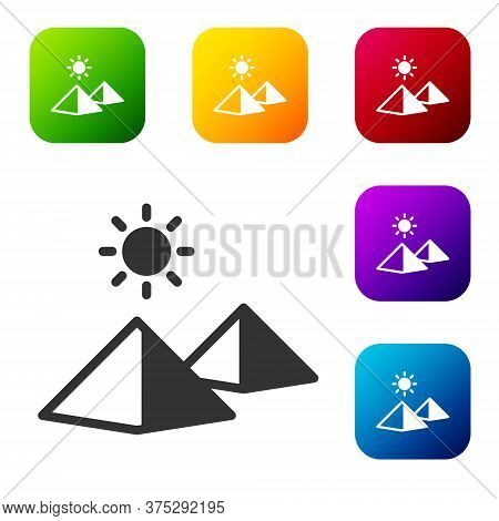 Black Egypt Pyramids Icon Isolated On White Background. Symbol Of Ancient Egypt. Set Icons In Color